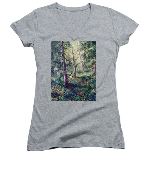 Forest Wildflowers Women's V-Neck T-Shirt (Junior Cut) by Megan Walsh