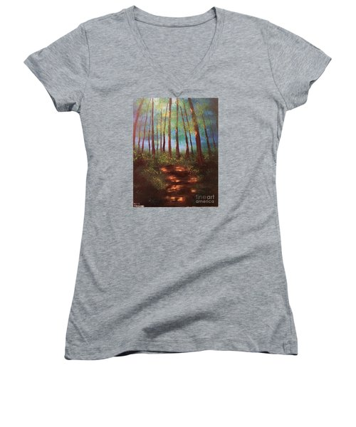 Forests Glow Women's V-Neck T-Shirt (Junior Cut) by Denise Tomasura