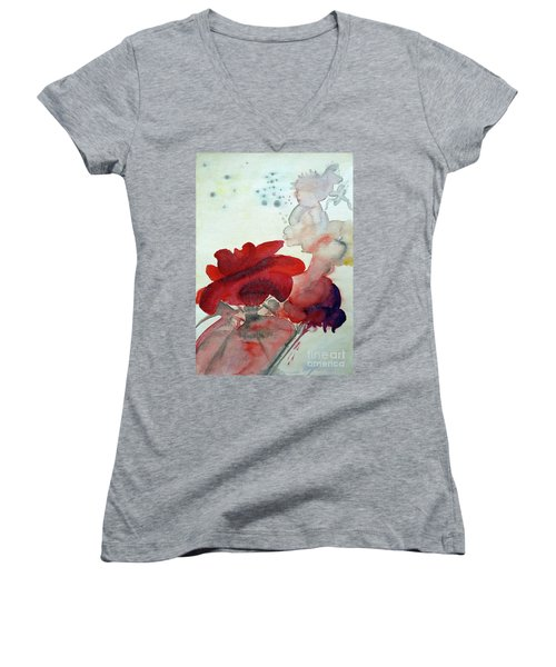 Women's V-Neck T-Shirt (Junior Cut) featuring the painting Forever by Jasna Dragun