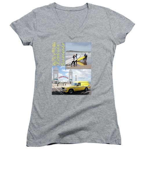Women's V-Neck T-Shirt (Junior Cut) featuring the photograph Forever Summer 6 by Linda Lees