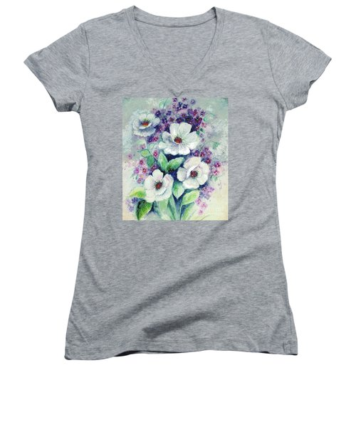 Forget-me-knots And Roses Women's V-Neck T-Shirt (Junior Cut) by Hazel Holland