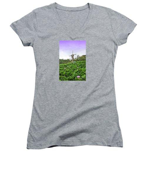 Women's V-Neck T-Shirt (Junior Cut) featuring the photograph Forget Me Not by DJ Florek