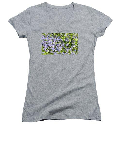 Forget-me-not - Myosotis Women's V-Neck T-Shirt (Junior Cut) by Irina Afonskaya