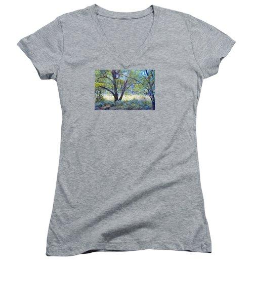 Women's V-Neck T-Shirt (Junior Cut) featuring the photograph Forgotten Day Dreams by John Rivera