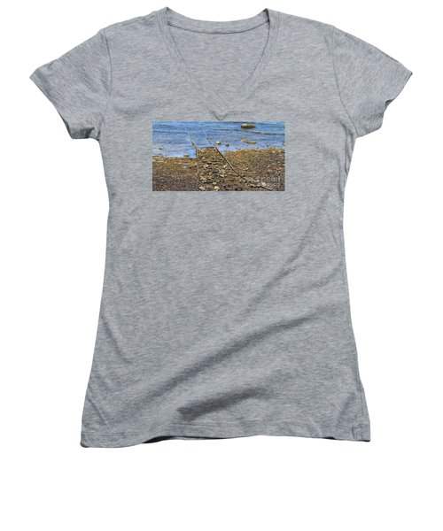 Women's V-Neck T-Shirt (Junior Cut) featuring the photograph Forgotten Line II by Stephen Mitchell