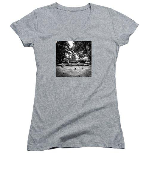 Women's V-Neck T-Shirt (Junior Cut) featuring the photograph Forgotten Monument by Jaroslaw Grudzinski