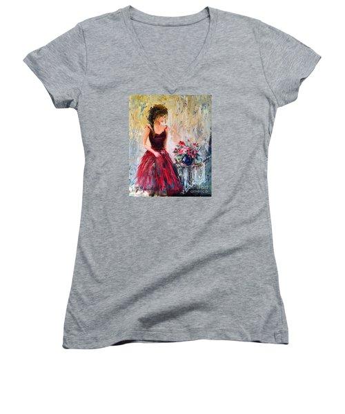 Forgotten Rose Women's V-Neck T-Shirt