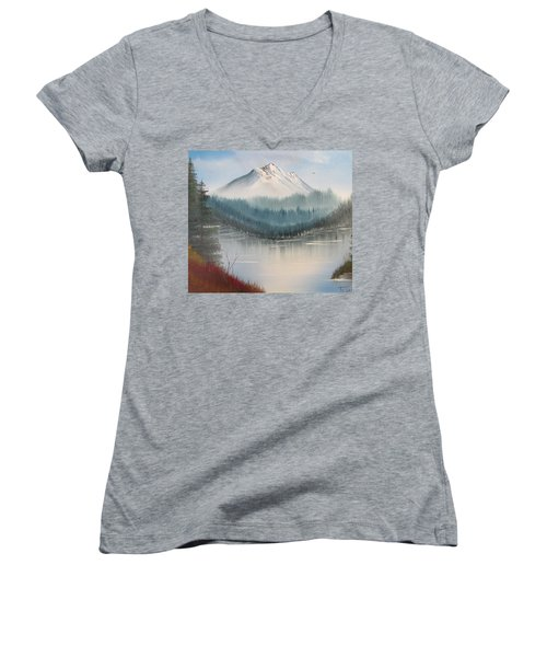 Fork In The River Women's V-Neck T-Shirt (Junior Cut) by Thomas Janos