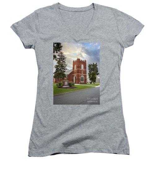 Fork Union Military Academy Wicker Chapel Sized For Blanket Women's V-Neck (Athletic Fit)