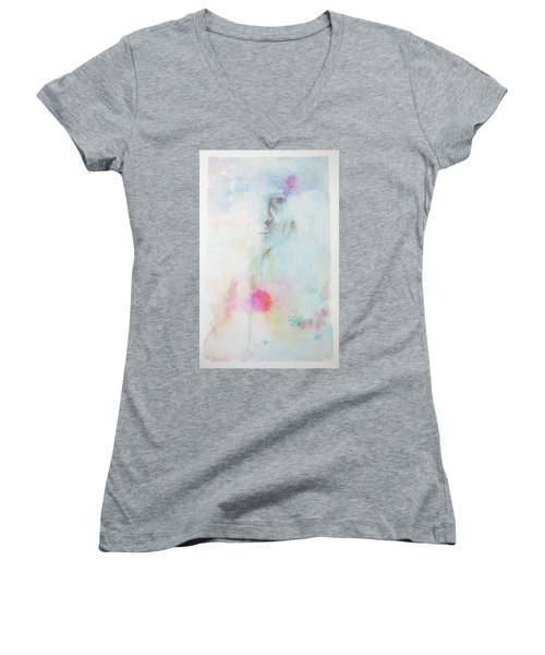 Women's V-Neck T-Shirt (Junior Cut) featuring the painting Forlorn Me by Rachel Hames
