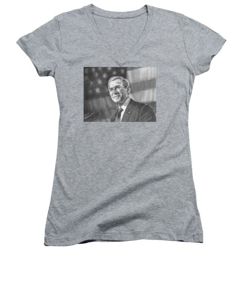 Former Pres. George W. Bush With An American Flag Women's V-Neck T-Shirt (Junior Cut) by Michelle Flanagan