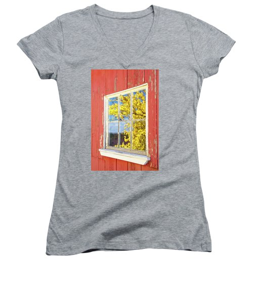 Women's V-Neck featuring the photograph Forsythia Reflection 1 by Brian Hale