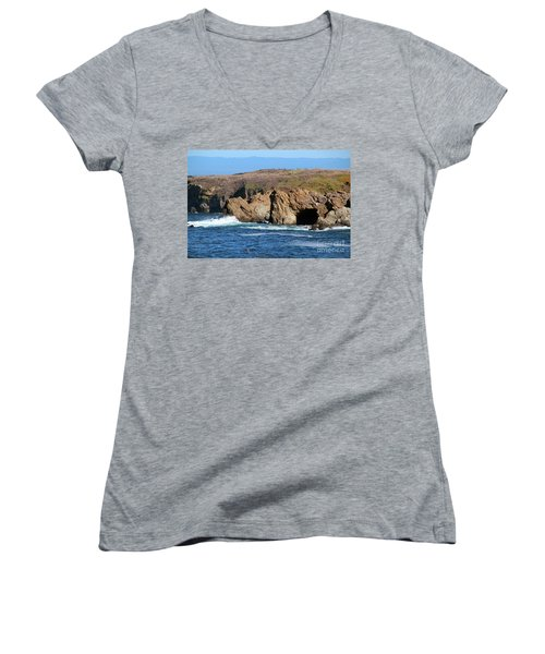 Fort Bragg Mendocino County Women's V-Neck T-Shirt (Junior Cut) by Wernher Krutein