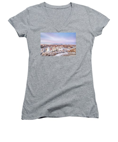 Fort Collins Aeiral Cityscape Women's V-Neck (Athletic Fit)