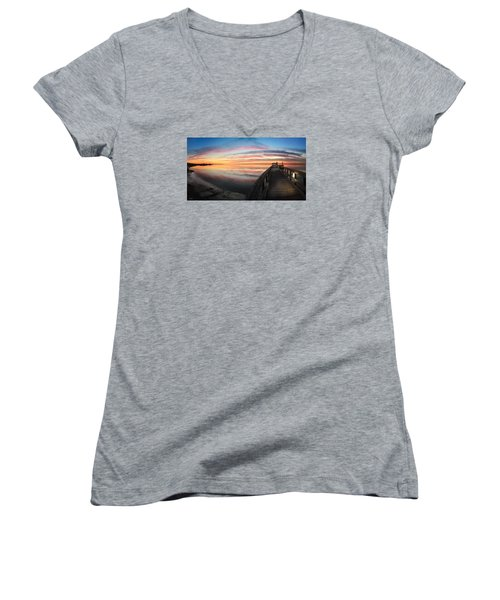 Women's V-Neck T-Shirt (Junior Cut) featuring the photograph Fort Fisher Sunset Reverie With Heron by Phil Mancuso