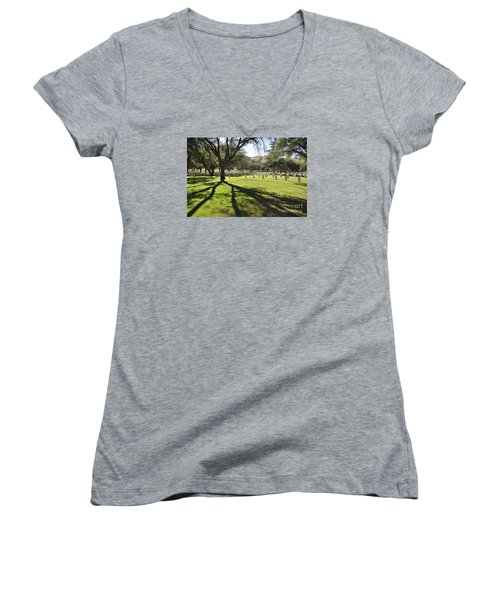 Women's V-Neck T-Shirt (Junior Cut) featuring the photograph Fort Huachuca Post Cemetery by Gina Savage