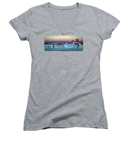 Fort Mchenry Shrouded In Snow Women's V-Neck (Athletic Fit)
