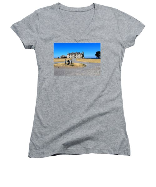 Women's V-Neck T-Shirt (Junior Cut) featuring the photograph Fort Niagara  by Raymond Earley