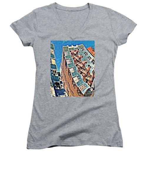 Fort Washington Avenue Building Women's V-Neck T-Shirt