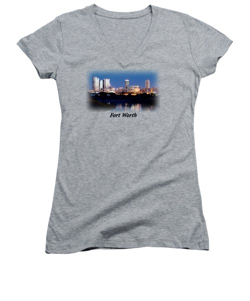 Fort Worth Night Skyline T-shirt Women's V-Neck T-Shirt