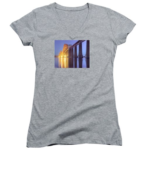 Forth Bridge Twilight Women's V-Neck T-Shirt (Junior Cut) by Ray Devlin