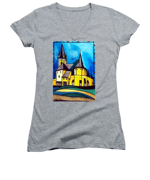 Women's V-Neck T-Shirt featuring the painting Fortified Medieval Church In Transylvania By Dora Hathazi Mendes by Dora Hathazi Mendes
