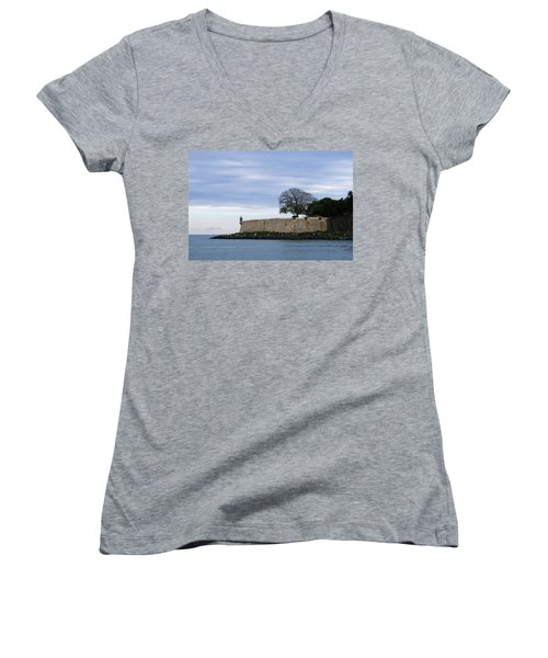 Women's V-Neck T-Shirt (Junior Cut) featuring the photograph Fortress Wall by Lois Lepisto