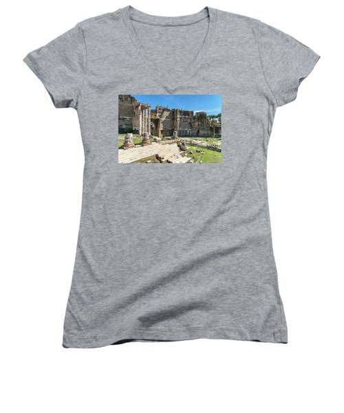 Women's V-Neck T-Shirt (Junior Cut) featuring the photograph Forum Of Augustus by Scott Carruthers