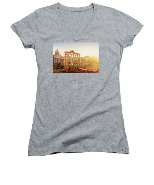 Forum - Roman Ruins In Rome At Sunrise Women's V-Neck T-Shirt (Junior Cut) by Anastasy Yarmolovich