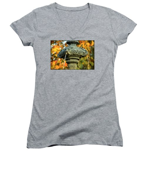 Women's V-Neck T-Shirt (Junior Cut) featuring the photograph Fountain At Union Park by Chris Berry