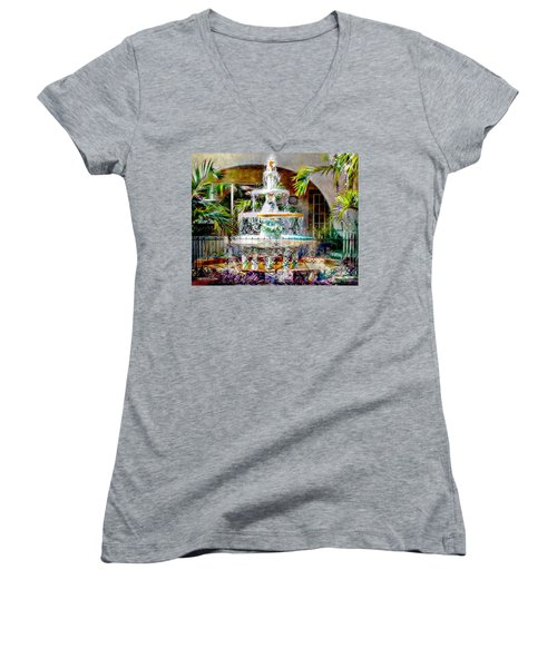 Fountain Of Water Women's V-Neck T-Shirt (Junior Cut) by Barbara Chichester