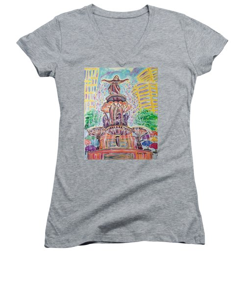 Women's V-Neck T-Shirt (Junior Cut) featuring the painting Fountain Square  Cincinnati  Ohio by Diane Pape