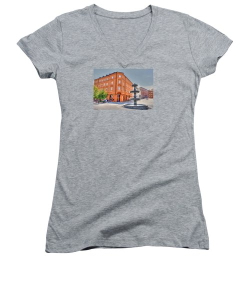 Women's V-Neck T-Shirt (Junior Cut) featuring the photograph Fountain by Uri Baruch