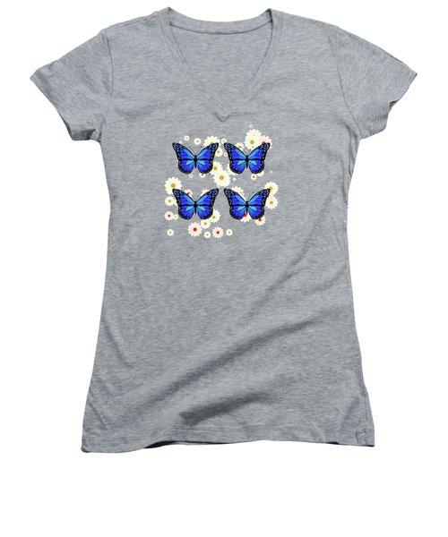 Four Blue Butterflies Women's V-Neck