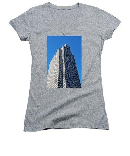 Four Embarcadero Center Office Building - San Francisco - Vertical View Women's V-Neck T-Shirt (Junior Cut) by Matt Harang
