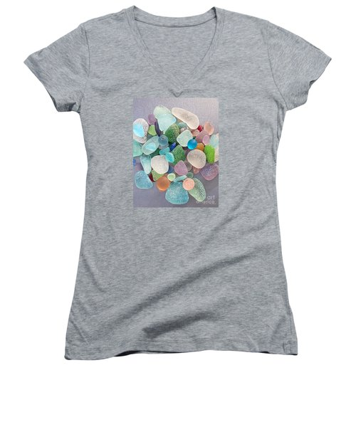 Four Marbles And A Rainbow Of Beach Glass Women's V-Neck T-Shirt