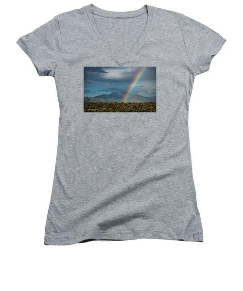 Women's V-Neck T-Shirt featuring the photograph Four Peaks Rainbow  by Saija Lehtonen