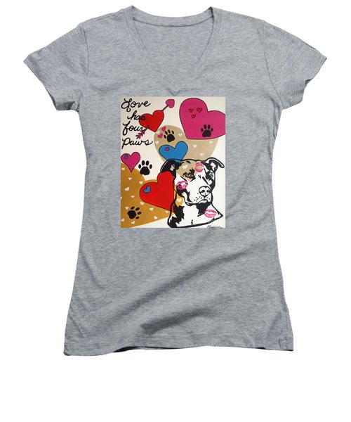 Four Pitty Paws Women's V-Neck T-Shirt (Junior Cut) by Melissa Goodrich