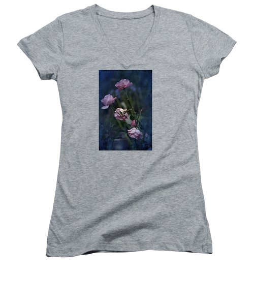 Four Roses Of August Women's V-Neck (Athletic Fit)