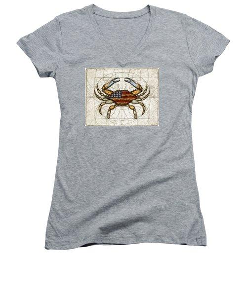 Fourth Of July Crab Women's V-Neck T-Shirt