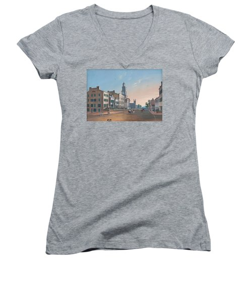 Women's V-Neck T-Shirt (Junior Cut) featuring the painting Fourth Street. West From Vine by John Caspar Wild