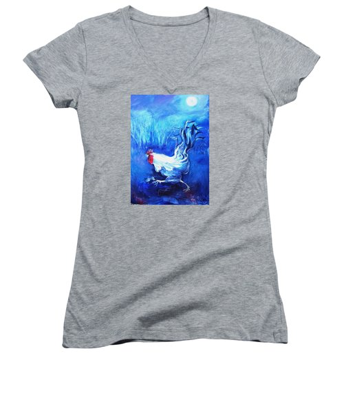 Fox Alert   Women's V-Neck T-Shirt (Junior Cut) by Trudi Doyle