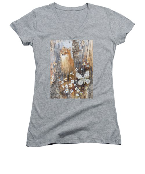 Fox And Butterfly Women's V-Neck