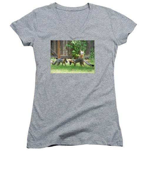 Fox Family Women's V-Neck T-Shirt