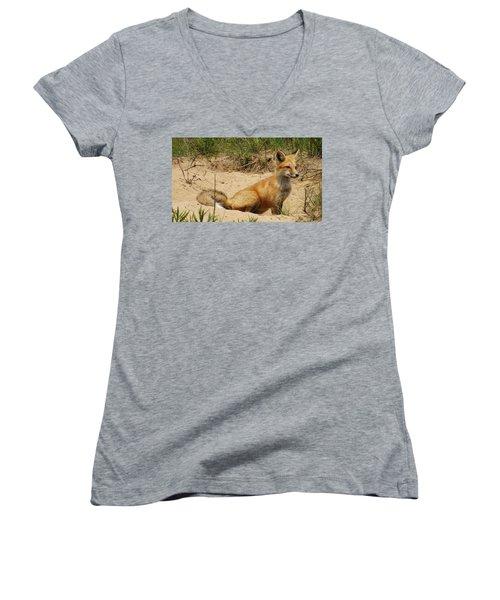 Fox In The Woods 2 Women's V-Neck T-Shirt