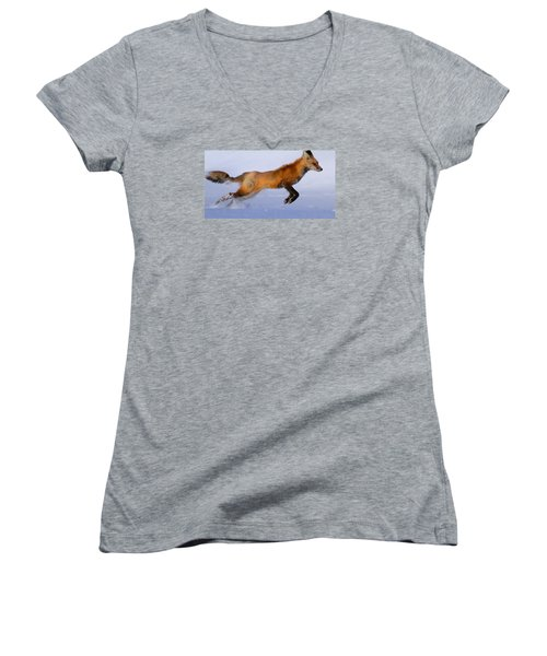Fox On The Run Women's V-Neck T-Shirt (Junior Cut) by Paul Marto