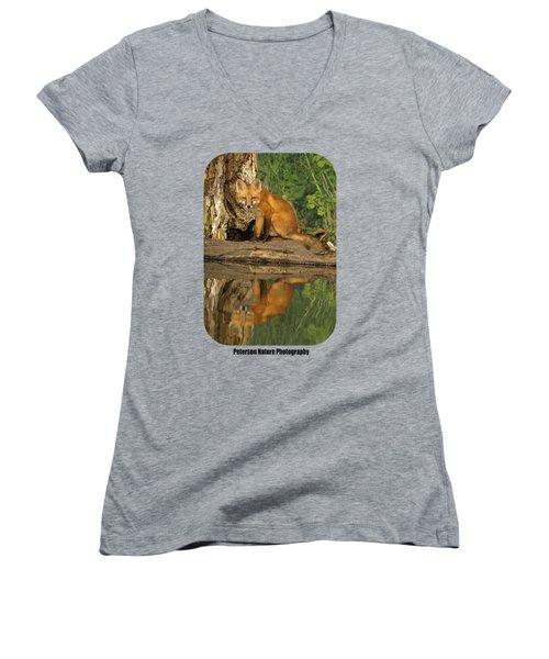 Fox Reflection Shirt Women's V-Neck T-Shirt (Junior Cut) by James Peterson