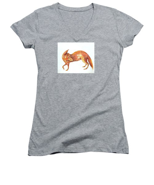 Women's V-Neck T-Shirt (Junior Cut) featuring the painting Fox Trot by Tamyra Crossley
