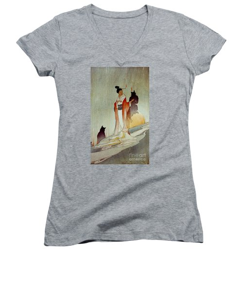 Women's V-Neck T-Shirt (Junior Cut) featuring the photograph Fox Woman 1912 by Padre Art