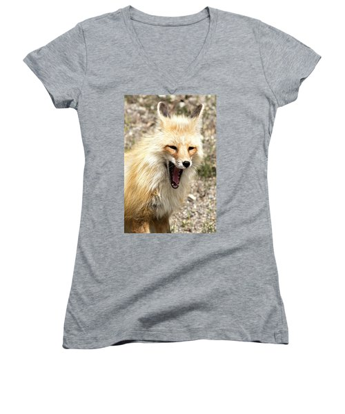 Fox Yawn Women's V-Neck (Athletic Fit)